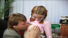 Redhead slut shaved her pussy to get fucked by her dad