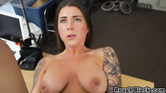 Tattooed brunette chick tries anal but still virgin decided to pussy fuck instead