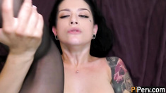 Horny tattooed chick Katrina Jade banged hard in her hot lingerie
