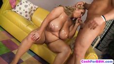 BBW whore Samantha gives head while fondling soaking wet pussy