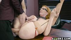 Busty redhead Lauren Phillips fucks with her boss