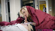 India catches the horny couple in the bed and joins the fun