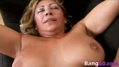 Blonde busty matrure lady slammed hard by big black cock