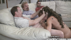 Short Horny Slut Wife Group Fucks Hubby Friends