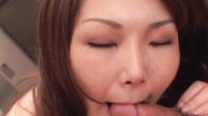 Busty brown haired lass Maria Fujisawa sucks and fucks a huge dick