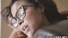 Maya catches her roommate's boyfriend watching porn